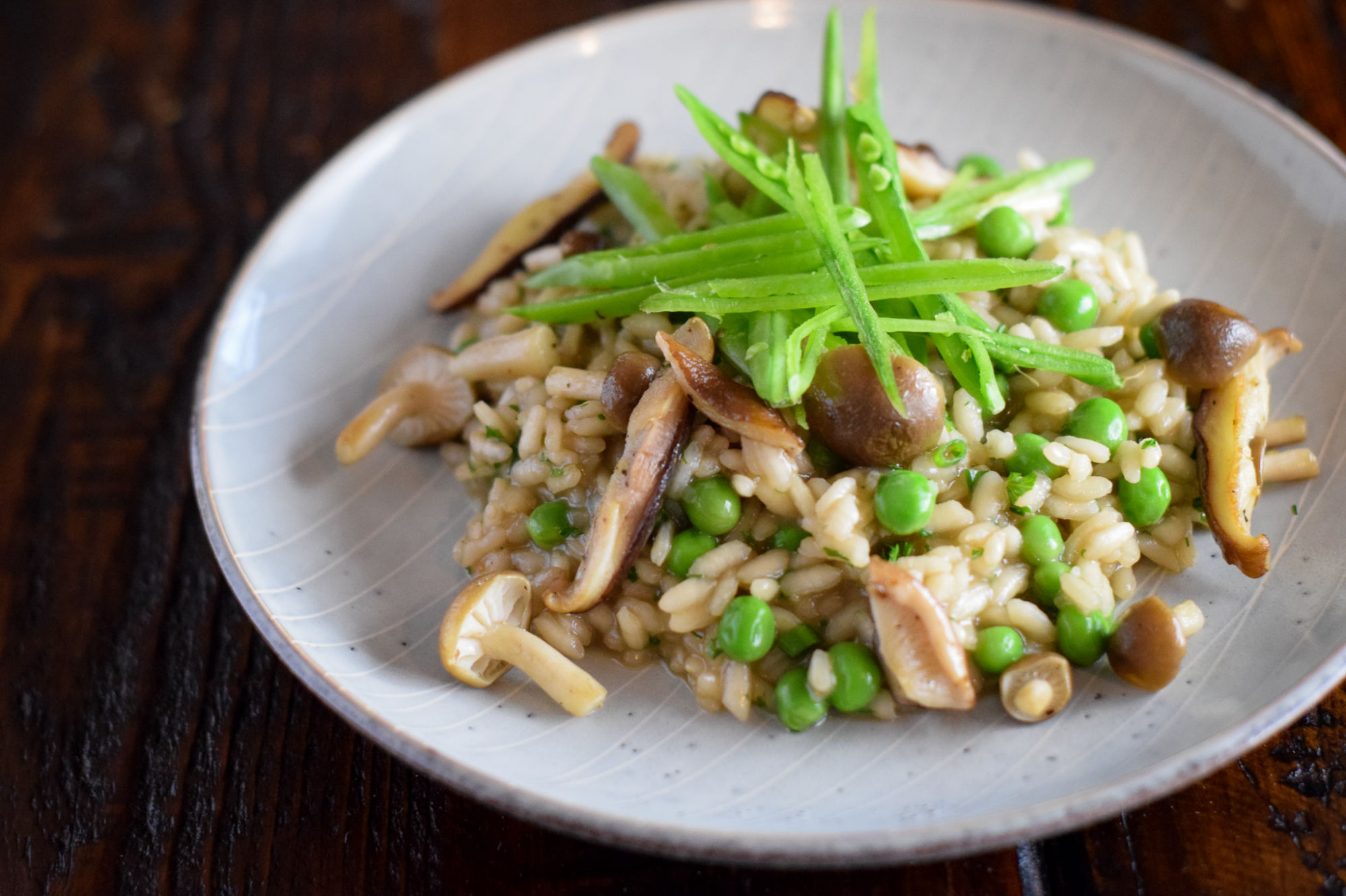 pea risotto wild mushrooms on a gray dish and dark table